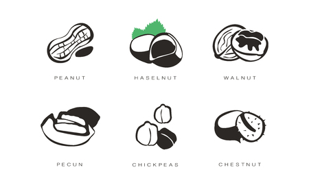 Nuts and seeds icons set, peanut, hazelnut, walnut, pecan, chickpeas, chestnut monochrome vector Illustration on a white background Stock Illustratie
