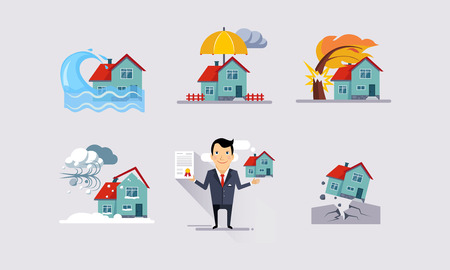 Insurance icons set, natural disasters, property protection, insurance and risk events vector Illustration 일러스트