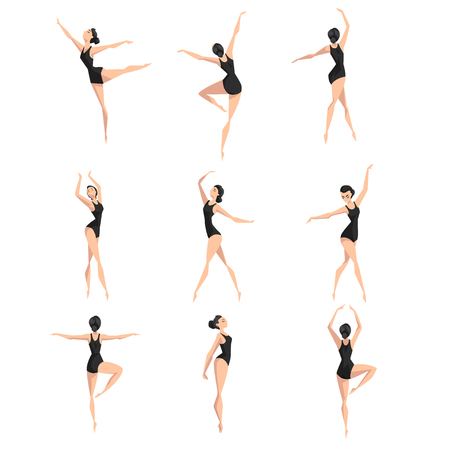 Female ballet dancer set, beautifull slim ballerina dancing classical dance vector Illustration on a white background Banque d'images - 109971292