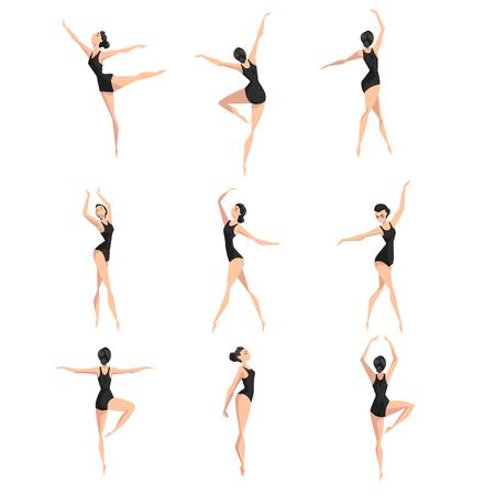 Insieme del ballerino di balletto femminile, ballerina bellissima sottile danza classica vettoriale illustrazione su sfondo bianco