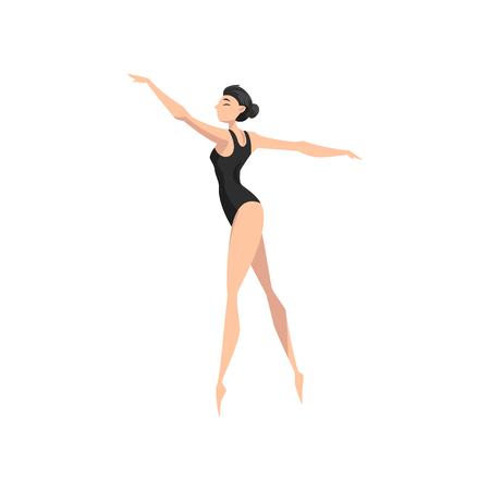 Young professional ballerina in black leotard dancing vector Illustration isolated on a white background.