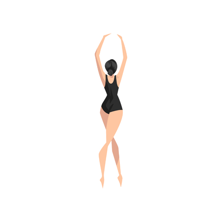 Young ballerina dancing in black leotard, professional ballet dancer vector Illustration isolated on a white background.