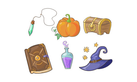 Magical signs set, Halloween symbols, potion bottle, magic crystal, pumpkin, wizard hat, magic book vector Illustration isolated on a white background.