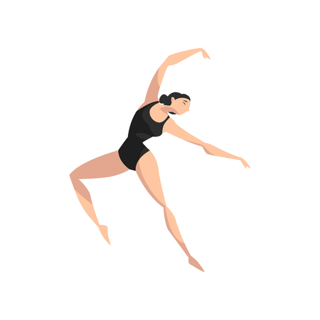 Beautifull slim ballerina dancing in black leotard, professional ballet dancer vector Illustration isolated on a white background.