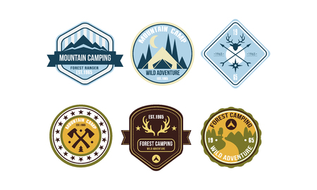 Mountain camping retro badges set, forest ranger camp, wild adventure labels vector Illustration on a white background