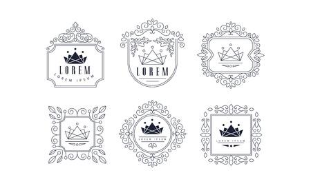 Monogram templates set, luxury monochrome business sign, badge fashion boutique, restaurant, hotel, jewelry vector Illustration on a white background
