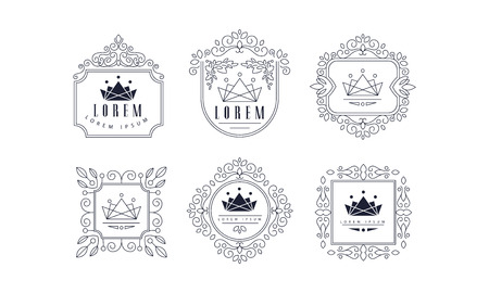 Monogram templates set, luxury monochrome business sign, badge fashion boutique, restaurant, hotel, jewelry vector Illustration on a white background Illustration