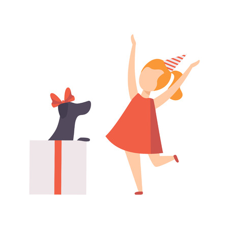Happy girl rejoicing a puppy who sitting inside a gift box, kid celebrating her Birthday vector Illustration isolated on a white background. Illustration