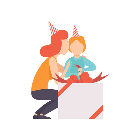Mom giving large gift box to her little son, kid celebrating his birthday vector Illustration isolated on a white background. Illusztráció
