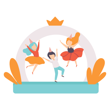 Cute boys jumping on inflatable trampoline, kids having fun at birthday party vector Illustration isolated on a white background.
