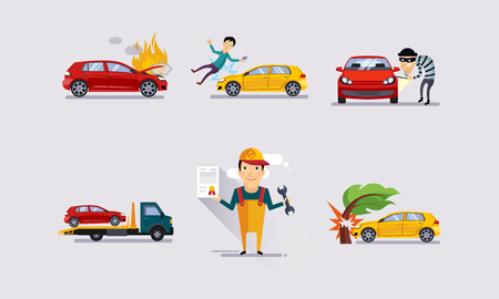 Road accidents set, car crash insurance and risk insured events vector
