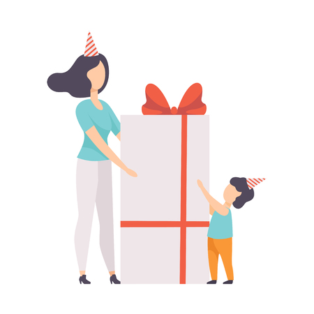 Mom giving large gift box decorated with red ribbon bow to her little son, kid celebrating birthday vector Illustration isolated on a white background. Illusztráció