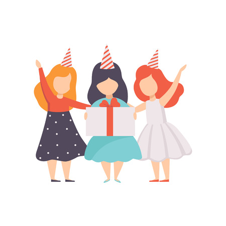 Lovely little girls standing in party hats, kids having fun at birthday party vector Illustration isolated on a white background.