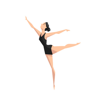 Young professional ballerina dancing, classical ballet dance class vector Illustration isolated on a white background. Çizim