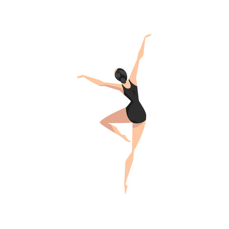 Young professional ballerina in black leotard dancing, classical ballet dance class vector Illustration isolated on a white background.