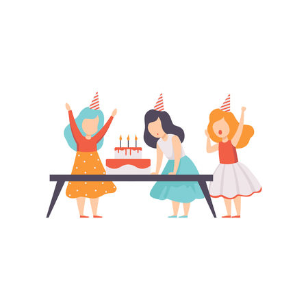 Girl blowing candles with her friends, kids celebrating birthday vector Illustration isolated on a white background.