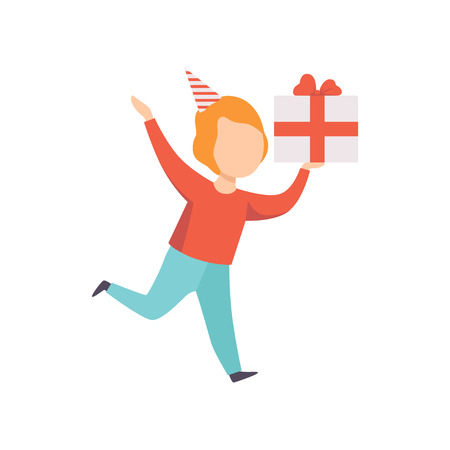 Happy boy running with gift box, kid celebrating his birthday vector Illustration isolated on a white background. 写真素材 - 128162580