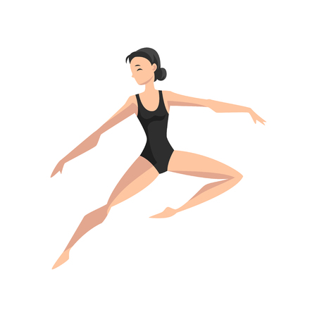 Ballet dancer, beautifull slim ballerina dancing vector Illustration isolated on a white background.