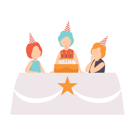 Happy girl blowing candles with her friends, kids celebrating birthday vector Illustration isolated on a white background. Illusztráció