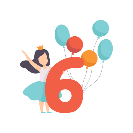 Cute girl celebrating her sixth birthday, child standing next to the number six and colorful balloons vector Illustration isolated on a white background. 向量圖像