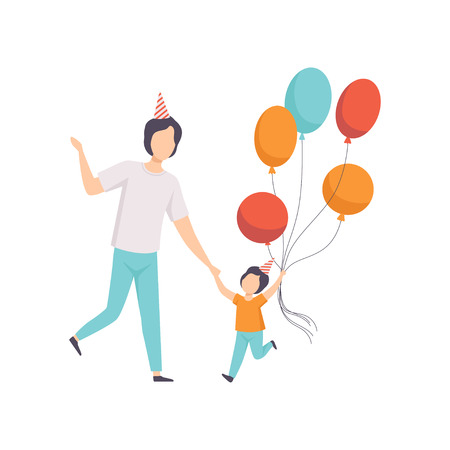 Happy boy holding bunch of colorful balloons, kid celebrating birthday with his dad vector Illustration isolated on a white background.