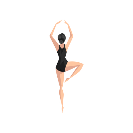 Young professional ballerina in black leotard, classical ballet dancer vector Illustration isolated on a white background.