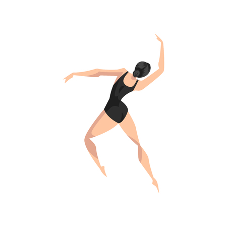 Young professional ballerina dancing, classical ballet dancer in black leotard vector Illustration isolated on a white background.