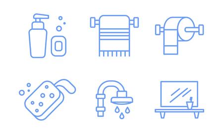Bathroom icons set, soap dispenser, towel holder, sponge, shower, mirror and shelf linear symbols vector Illustration isolated on a white background.
