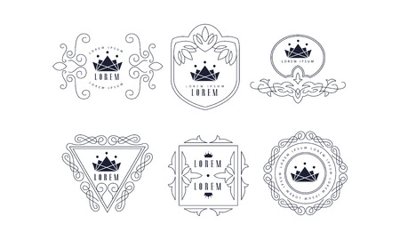 Monogram templates set, elegant stylish business sign, badge fashion boutique, restaurant, hotel, jewelry vector Illustration on a white background