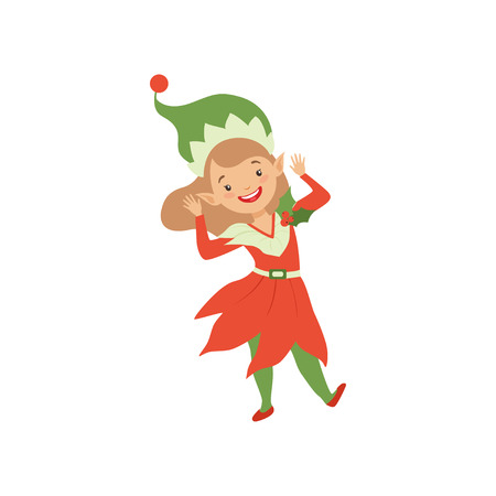 Cute happy Christmas elf girl, little Santa Claus helper vector Illustration isolated on a white background.