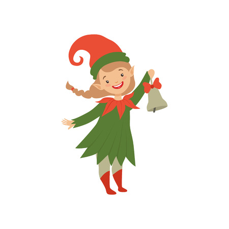 Cute happy Christmas elf girl with bell vector Illustration isolated on a white background.