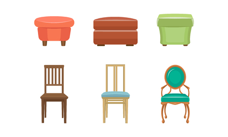 Bedroom poufs and chairs set, colorful comfortable furniture vector Illustration on a white background
