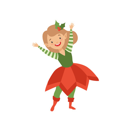 Lovely happy girl in elf costume, little Santa Claus helper vector Illustration isolated on a white background.
