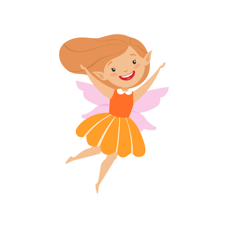 Cute beautiful little winged fairy, lovely happy girl in orange dress vector Illustration isolated on a white background.  イラスト・ベクター素材