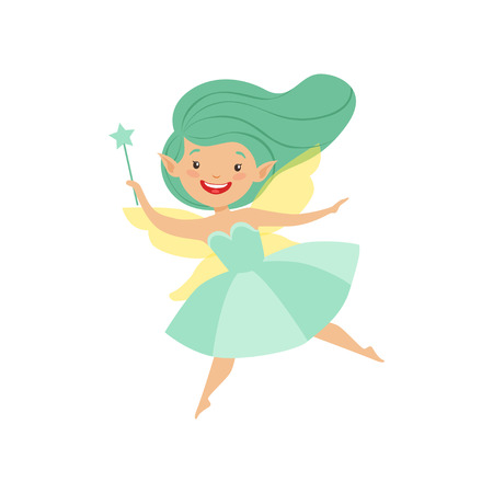 Cute beautiful little winged fairy, lovely girl with long hair and dress in turquoise colors vector Illustration isolated on a white background. Illustration