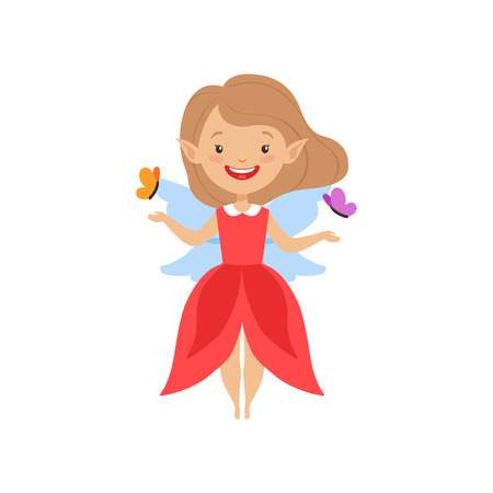 Cute beautiful little winged fairy, lovely girl in red dress vector Illustration isolated on a white background.
