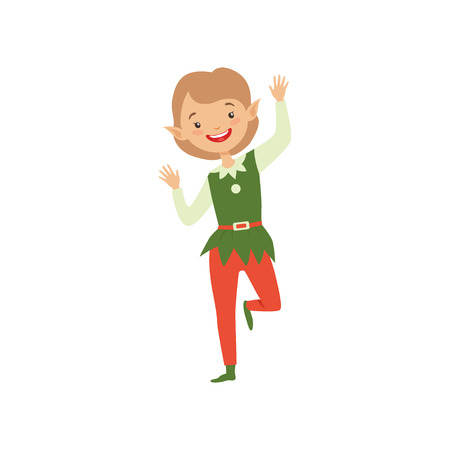 Cute playful boy in elf costume, little Santa Claus helper vector Illustration isolated on a white background. Illusztráció