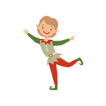 Cute playful little boy in elf costume vector Illustration isolated on a white background. Illusztráció