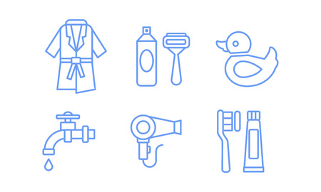 Bathroom icons set, bathrobe, razor, shaving gel, water tap, hairdryer, toothbrush and paste linear symbols vector Illustration isolated on a white background. Stok Fotoğraf - 109916177