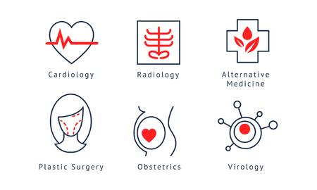 Medical specialization symbols set, cardiology, radiology, alternative medicine, plastic surgery, obstetrics, virology vector Illustration on a white background