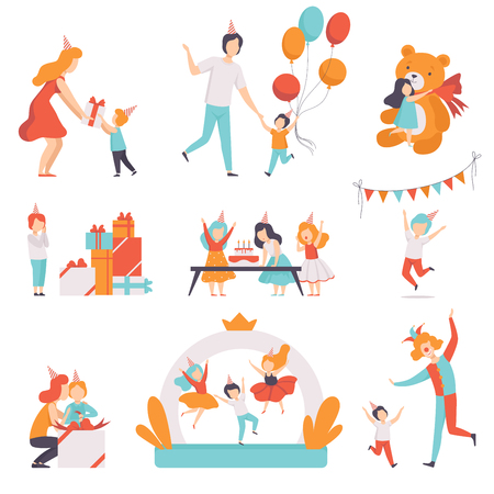 Cute little kids celebrating their birthday set, children recieving gifts and having fun with their friends at birthday party vector Illustration isolated on a white background.