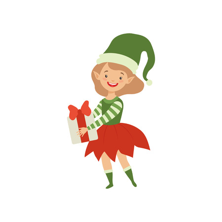 Lovely happy girl in elf costume holding gift box vector Illustration isolated on a white background. Illusztráció