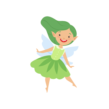 Cute beautiful little winged fairy, lovely girl with long hair and dress in green colors vector Illustration isolated on a white background.  イラスト・ベクター素材