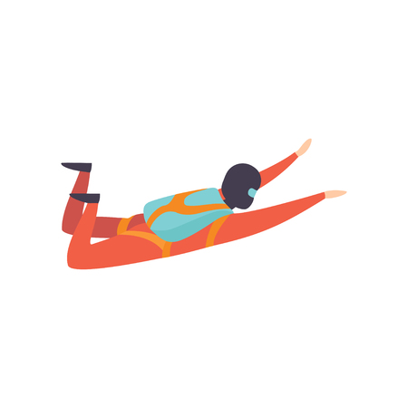 Skydiver falling through the air with parachute, extreme sport, leisure activity concept vector Illustration isolated on a white background.