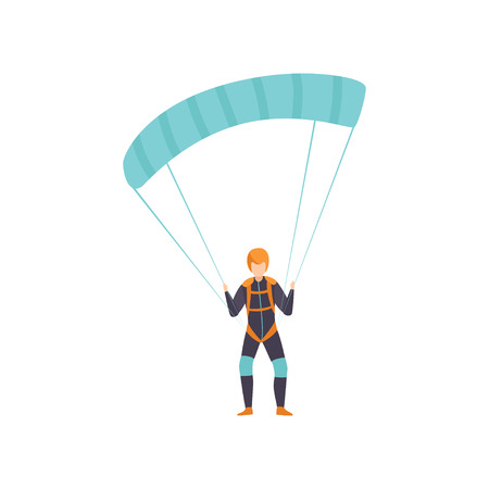 Skydiver flying with a parachute, skydiving, parachuting extreme sport vector Illustration isolated on a white background.