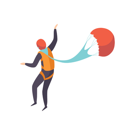 Skydiver jumping with a parachute, skydiving, parachuting extreme sport vector Illustration isolated on a white background.