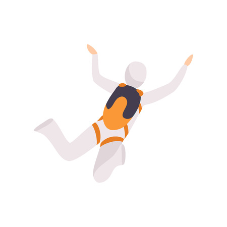 Skydiver in a suit flying in the sky, skydiving, parachuting extreme sport vector Illustration isolated on a white background.