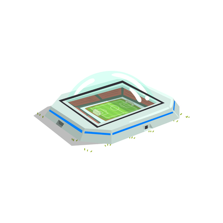 Stadium building, sports venue for championships, matches vector Illustration isolated on a white background.
