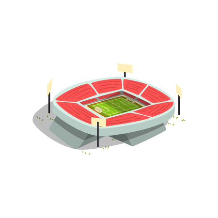 Football or soccer stadium building, sports venue for championships, matches vector Illustration isolated on a white background.
