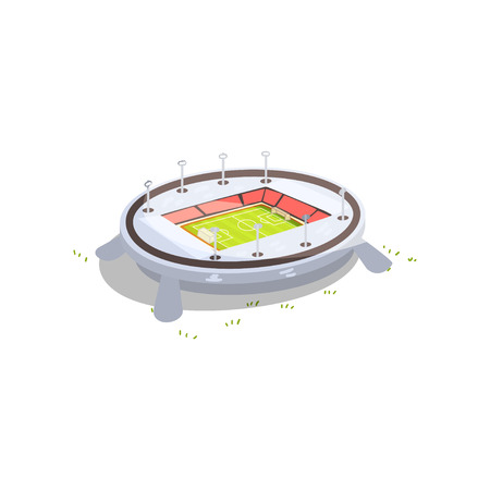 Stadium building, sports football, soccer venue vector Illustration isolated on a white background.